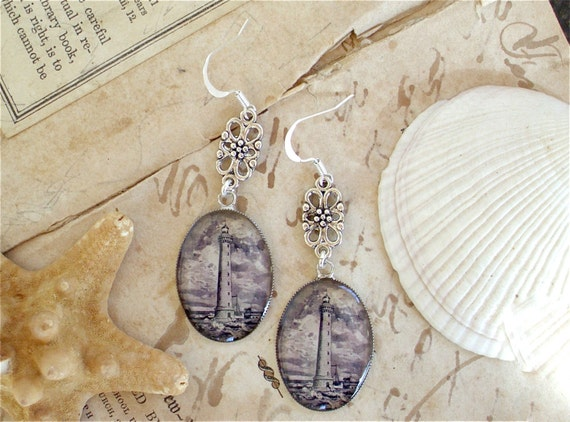 Lighthouse Earrings - Antique Nautical Print Dangle Earrings in Silver - Nautical Earrings
