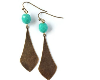 Art Deco Earring Bronze and Turquoise