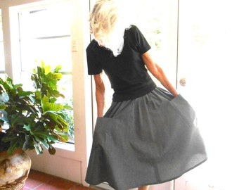 Vintage Japanese dirndl skirt 1960's check preppy full skirt big pockets versatile all year extra small traditional retro: xs