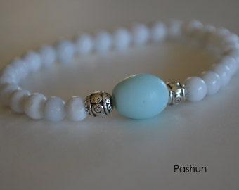 Yoga Stretch Bracelets ... White Beads (1364)