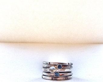 Blue Topaz Ring - Stacking Rings - Blue Stone Ring