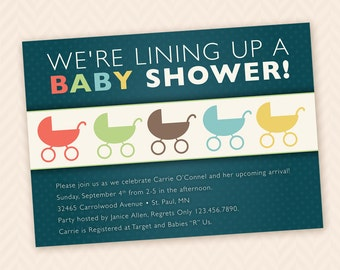 Gender Neutral Baby Buggy  Shower Invitation
