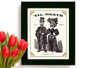Unique Wedding Gift for Couples Personalized Art Print Day of the Dead Anniversary Gift I Love You to Death Rockabilly Skull Goth