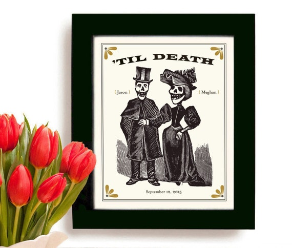 Unique Wedding Gift for Couples Personalized Art Print Day of the Dead ...