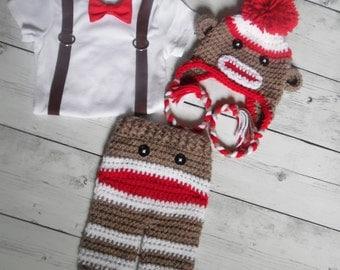 Baby Sock Monkey Outfit, Baby boy Bodysuit, Suspender with Bow and Hat, Baby Bodysuit Suspender