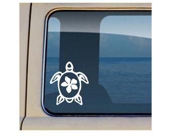 Turtle Tribal Decal Hawaiian Plumeria Sealife Sticker 569