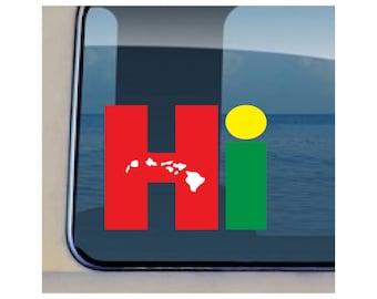 Hi Reggae Islands Decal Hawaiian State Sticker  113