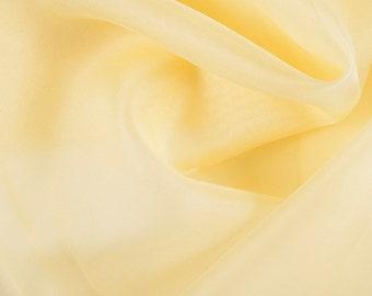 "45"" Wide 100% Silk Organza Yellow by the yard"