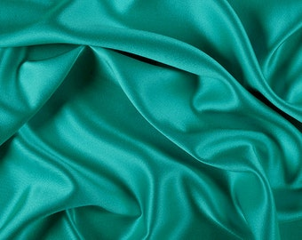 """45"""" Wide 100% Silk Crepe Back Satin Teal Green by the yard"""