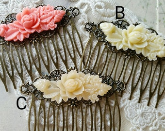 52 mm x 40 mm Handmade Antiqued Bronze Flower Hair Comb Finding with 46 mm Resin Flower Cabochon