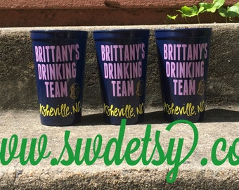 DRINKING TEAM Bachelorette Party Tumblers, Set of 4, Bridesmaids Gift, Party Cups