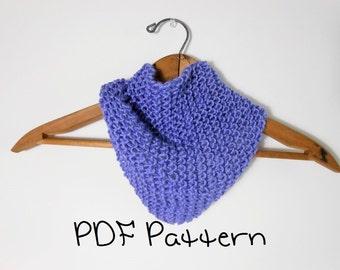 Knitting Pattern Easy Bandana Scarflet Quick Head Scarf Kerchief Beginner Pattern
