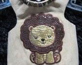 XXS, XS, SM, Med ultra suede with cute lion applique