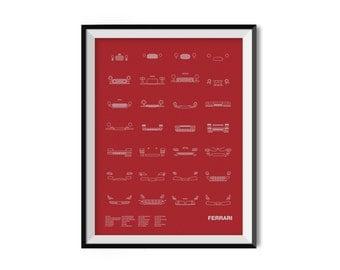 Auto Icon Screen Print Series: Ferrari