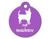 Small and Mighty - Dog ID Tag, Stainless Steel Pet Tag, Custom Pet Tag, Pet ID Tag, Chihuahua Silhouette ID Tag for Dogs, Funny Pet Tags