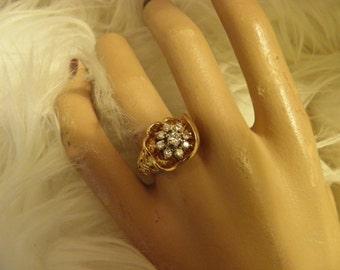 Chunky Openwork Diamond Cluster Dinner Ring.