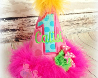 Custom 1st First Birthday Party Hat- Handmade fabric applique hat- Rainbow- Pink, green, yellow, and blue- Marabou feathers