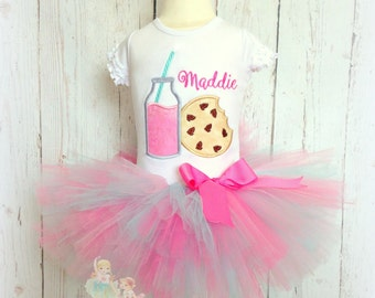 Milk and Cookies Tutu Outfit- Pink Strawberry Milk- Chocolate Chip cookie applique- Blue and Pink