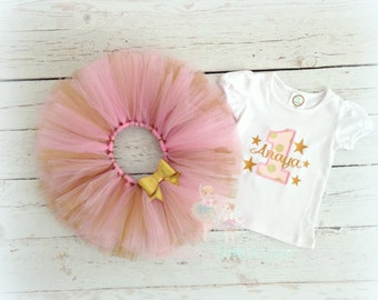 1st birthday outfit for girls - gold and pink gold stars birthay tutu outfit - pink and gold matching tutu - 1st birthday embroidered shirt