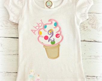 Ice cream birthday shirt - ice cream cone birthday shirt - first birthday shirt - ice cream party - ice cream theme - personalized shirt