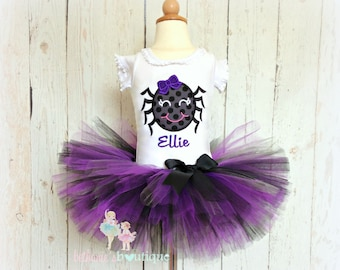 Spider Halloween outfit - Halloween tutu outfit - spider costume - spider Halloween costume - purple and black spider tutu outfit