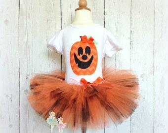 Halloween Pumpkin Tutu Costume- Jack O Lantern- Baby Girl- Orange and Black- Pumpkin Face- Custom embroidery