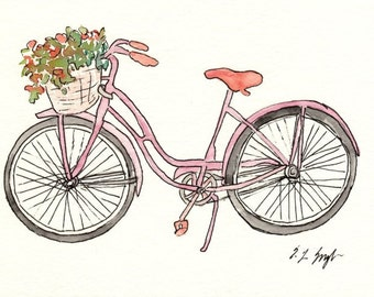 Pink Bike Painting, Original Watercolor Art, Vintage, Flower Basket, 5x7, illustration, paris, spring, coral, bicycle, watercolor flowers