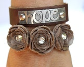 Leather Bracelet with Handmade Leather Flowers