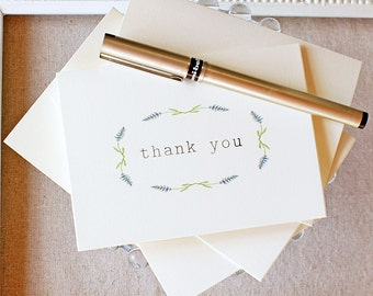 Thank You Notes set of 5 Lavender Watercolor