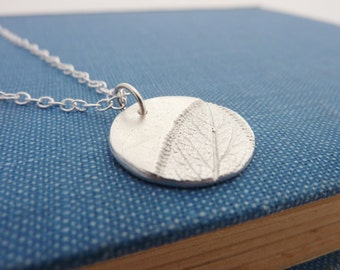 Silver Leaf Pattern Round Pendant - Fine Silver Leaf Necklace, Free UK Postage