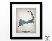 Cape Cod Massachusetts Silhouette Design Map Art Print - Home Town Love Heart Map - Customizable Art Print Available in Multiple Sizes