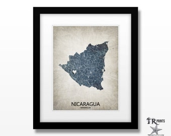 Nicaragua Map Art Print - Home Is Where The Heart Is Love Map - Original Custom Map Art Print Available in Multiple Sizes