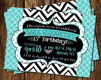Trendy Teenager Birthday Invitation