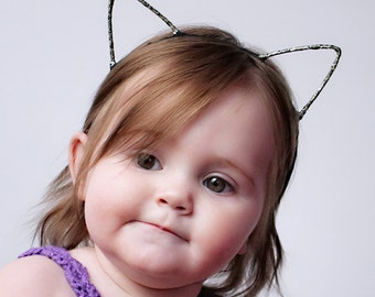 Girls Cat Ears Headband: Black K1020