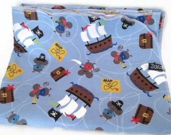 Handmade XL Flannel Receiving blanket / Swaddle blanket - Pirate Mice on Blue