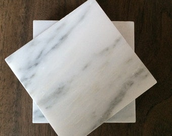 "Carrara Marble Coasters 4""x4"" set of 4"