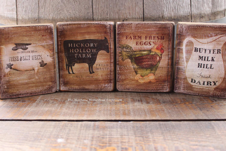 farmhouse kitchen signs wood plaques set of