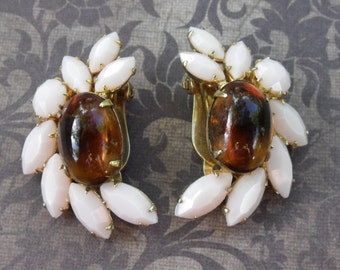 Collectible Sherman Jewelry // Sherman Clip On Earrings // Pale Pink & Topaz Sherman // 1960's
