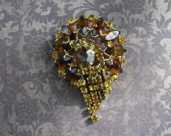 1950's Topaz & Amber Rhinestone Brooch // Men's Lapel Pin // Vintage Brooch