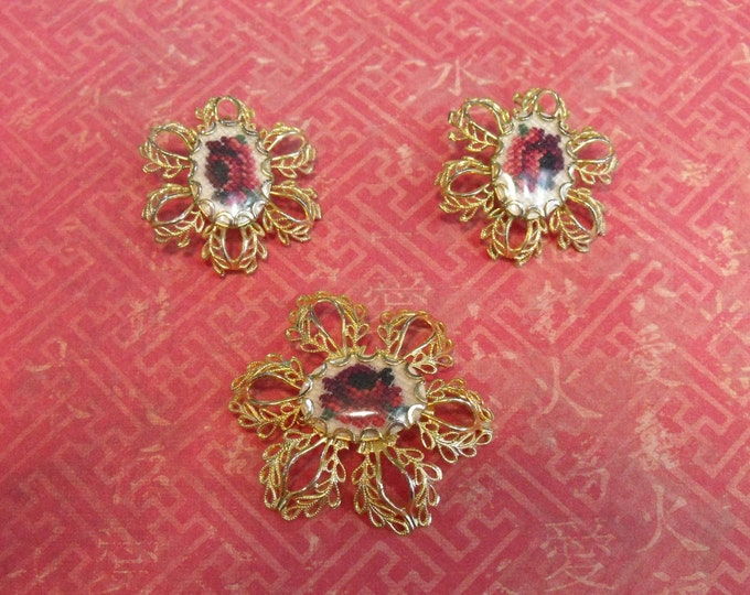 Vintage Filigree Petit Point Earrings and Brooch Set