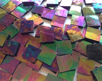 "Mosaic Tiles - 100 1/2"" Squares - Iridescent Black Stained Glass - Hand-Cut"