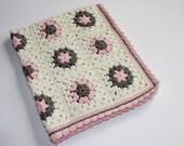 Granny Square Retro Wool, Bamboo & Silk Crochet Pram Cot Crib Nursery Car Baby Blanket for baby girl Ready to Ship