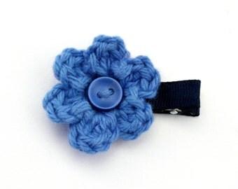 Crochet Flower Alligator Hair Clip in Blueberry