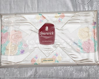 Vintage hand painted floral tablecloth. English Sparwick cloth