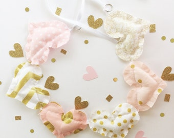 Blush and Gold Garland, garland, pink and gold garland, bunting, party garland, pink and gold party, blush and gold decor, pink garland,