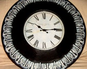 Wall Clock,24 inch,  Metal Wall Clock Black and White, Painted Clock, Wall Decor, Pairs,