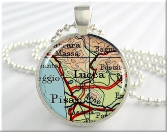 Lucca Italy Map Pendant Resin Charm Pisa Italy Travel Map Necklace Picture Jewelry (687RS)
