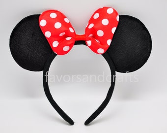 1 Minnie Mouse Headband RED Bows Minnie Mouse Ears, Minnie Ears, Mickey Mouse Headband, Mickey Ears, Polka Dots Favors Birthday