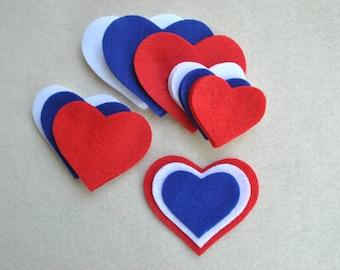 27 Piece Die Cut Felt Hearts, Red/White/Blue