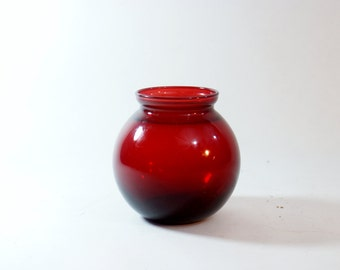 Red Ruby Small Vase Glass Vintage Flower Round Vases Beautiful weighted bottom